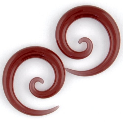 Pair of Glass Micro Spirals: 6g Sangria