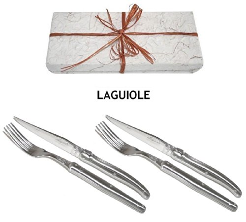 Authentic Laguiole Dubost - Steak Set For 2 People In Beautiful Gift-Box - In All Heavier Smooth 25/10 Stainless Steel - Blade : 2.5 Mm Thickness! (Very Sharp: Perfect Steak/Pizza Knives) (Official French Quality Duo Place Inox Flatware/Cutlery Setting -