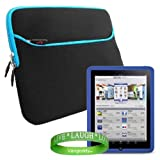 41Mjt2D38EL. SL160  iPad Carrying Case Scratch Resistant Neoprene Sleeve with Attached Pocket to Contain ipad Accessories for Apple ipad Tablet wifi + 3G model  ** BLACK   BLUE ** + ** BLUE ** iPad Silicone Skin + Vangoddy Live * Laugh * Love Wrist band
