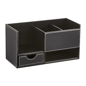Safco leather look small organizer black - Black leather desk organizer ...