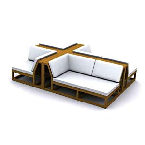 .com : Maya Teak Outdoor Sectional Sofa : Outdoor And Patio Furniture