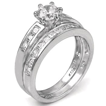 Rhodium Plated Brass Wedding Ring Set with Round Shape Cubic Zirconia in Six Prong Setting and Side stones in Channel Setting