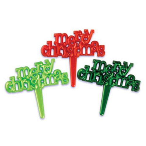 Dress My Cupcake DMC41X-814 12-Pack Merry Christmas Pearlized Signs Pick Decorative Cake Topper, Assorted