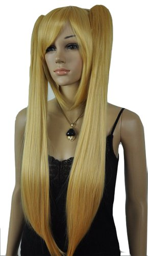 Qiyun Long Short Straight Blonde Two Clip-On Ponytails Costume Full Hair Wig