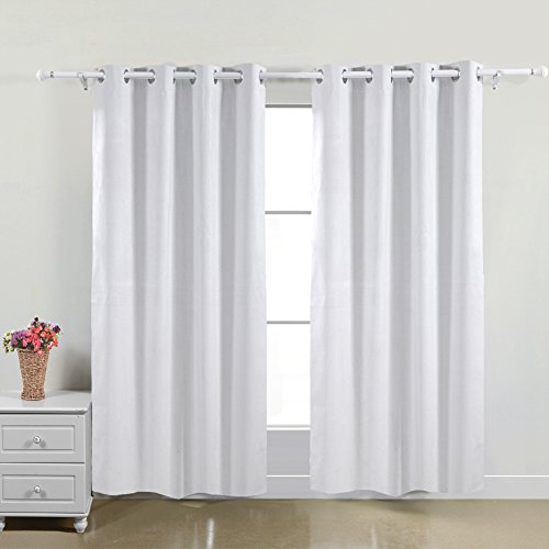 Deconovo Solid White Funtional Suede Thermal Insulated Blackout Curtains With Backside Silver Backing to Reflect Sunlights and Protect Against UV Rays,52 Inch X 63 Inch, Two Panels