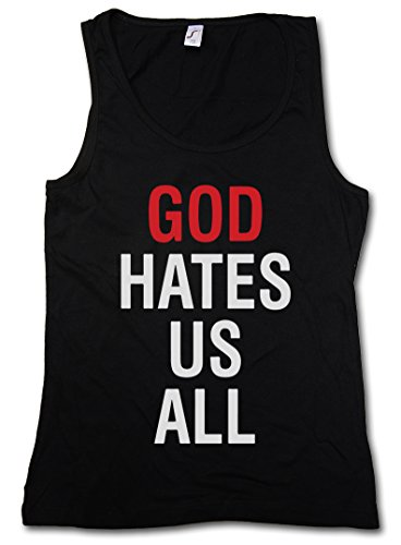 GOD HATES US ALL DONNA CANOTTA TANK TOP - Kult Californication Hank Moody TV Duchovny Shirt Taglie S - XL