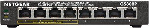 NETGEAR 【3年保証/ SOHO家庭向け】ギガ8ポート(PoE 4ポート)アンマネージスイッチ 金属筐体 GS308P-100JPS