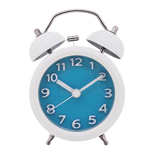 Sveglia con due campanelle e luce, funzionamento silenzioso, meccanismo al quarzo, analogica, segnale d'allarme a volume elevato, 7,6 cm blu