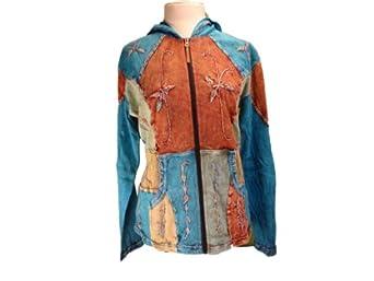 Amazon.com: Bohemian Patchwork Hippie Hoodie 100% Cotton