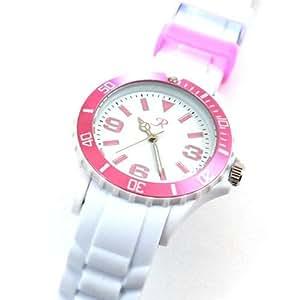 Reflex - SR016 - Montre Reflex Mixte Blanche et Rose avec Bracelet en Silicone