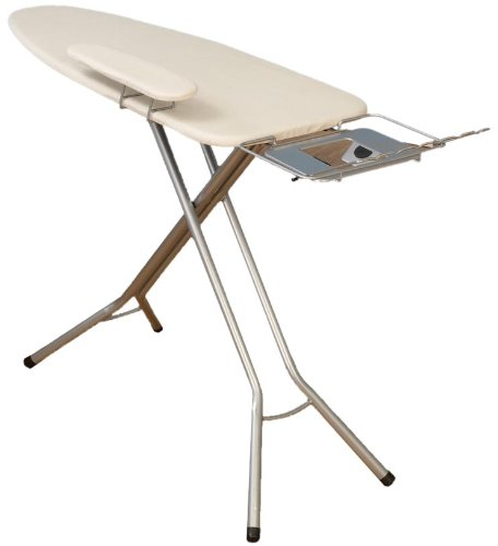 Household Essentials Fibertech Wide Top 4-Leg Mega Pressing Station Ironing Board with Natural Cotton Cover
