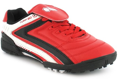 New Boys/Childrens Red Astro Turf Lace Up Football Trainers - Red/White/Black - UK 13-5.5