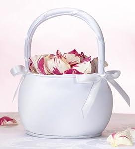 White Round Flower Basket - Flower Girl Basket