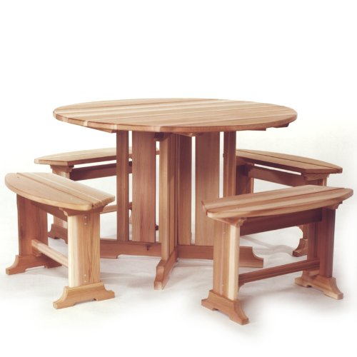 Western Red Cedar Picnic Table With 4 Benches Patio Set - Patio and Garden Furniture