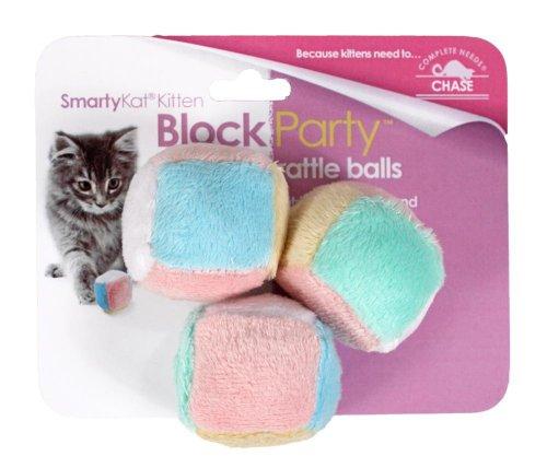 SmartyKat Block Party Cat Toy Kitten Rattle Balls 3 Pack - 1