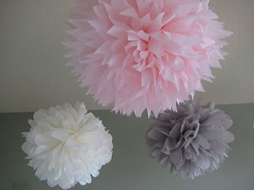 6 Mixed White Gray Pink Party Tissue Pompoms Paper Flower Pom Poms Wedding Birthday Anniversary Party Christmas Girls Room Decoration front-15189