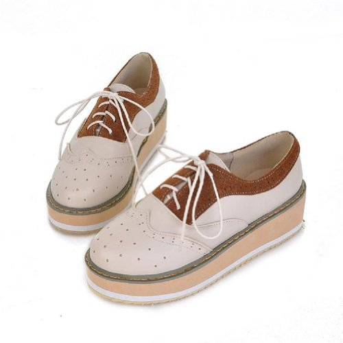New Fashion Preppy Style Womens Girls Wedge Heels Platform Shoes (5.5, Brown)