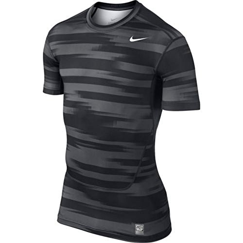 Nike Men's Dri Fit Pro Combat Frontline Striped Compression T Shirt Black Grey Large