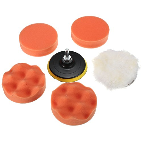 MATCC 7 Pcs 4 Inch Car Sponge and Woolen Polishing Waxing Pad Kit Set with M10 Drill Adapter (Car Buffers For Drill compare prices)