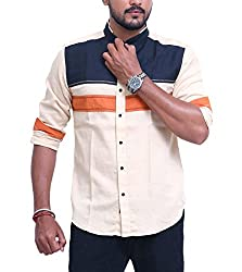PP Shirts Men Cotton Casual Shirt ( Beige L )