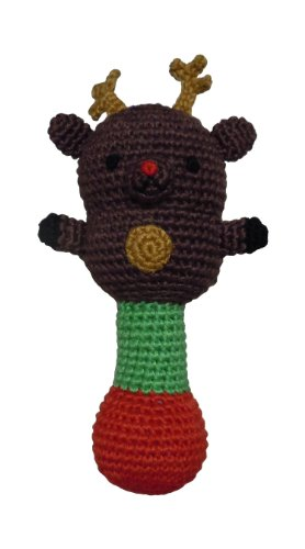 "Kid Style Amikins Reindeer Rattle, Brown, 7"" H x 3"" W"