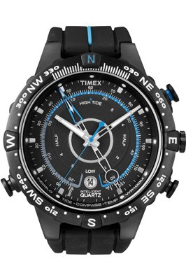 Timex Intelligent Quartz Men's Tide Temp Compass Watch with Black Dial Analogue Display and Black Silicone - T49859