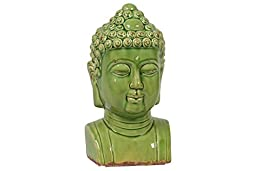 Benzara Elegantly Sculpted Spiritual Ceramic Buddha Bust in Antique Green