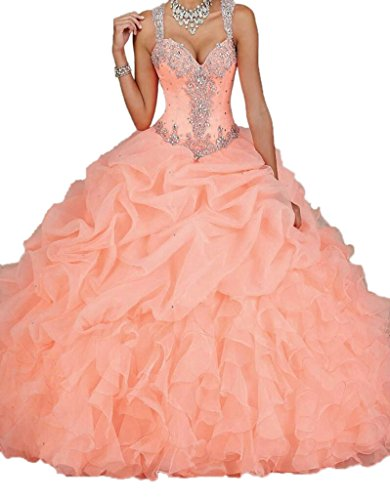 Ikerenwedding Women's Spaghetti Beading Pearls Sheer Back Ball Gown Quinceanera Dresses Coral US0