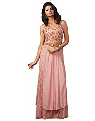 Shoppingover Hand Embroidered Gown in Peach color