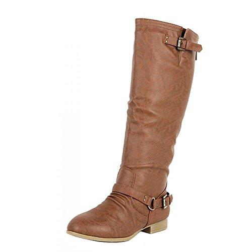 Top Moda COCO-1 Women's Knee High Riding Boot, Color:TAN, Size:8.5