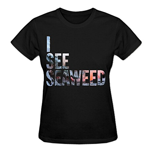 The Drones I See Seaweed Premium cotton Tee Shirts For Women Crew Neck Black (Seaweed Chili compare prices)