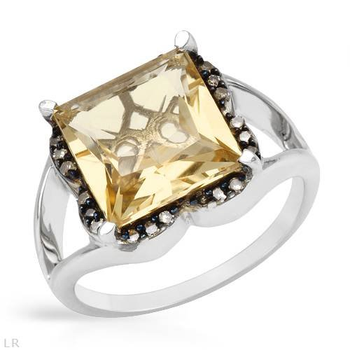 Sterling Silver 4.9 CTW Citrine and 0.14 CTW Color C2-C3 I1-I2 Diamond Ladies Ring. Ring Size 7. Total Item weight 4.8 g.