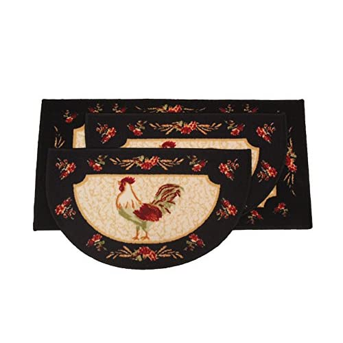Kashi Home Rooster 3pc Kitchen Rug Set, (2) Slice 18