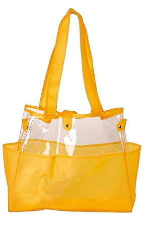 Semi-clear Jelly Beach Tote Bag/ Swimming Tote Bag/ Shoulder Tote Bag, Yellow