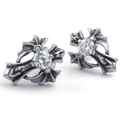 KONOV Jewelry Mens Cubic Zirconia Stainless Steel Vintage Gothic Cross Stud Earrings, Black Silver