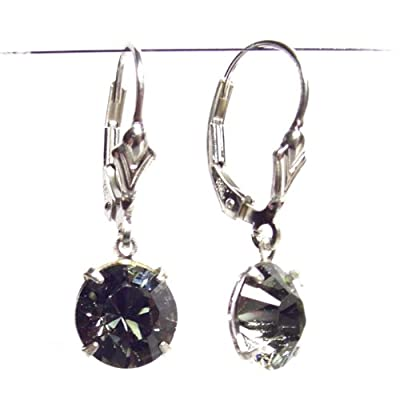 Silver Lever Back Earrings Made With Teardrop Black Diamond Swarovski Crystal. High Quality. Low Prices.