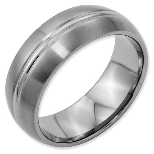 Titanium Grooved 8mm Brushed and Polished Band Ring Size 17 Real Goldia Designer Perfect Jewelry Gift for Christmas