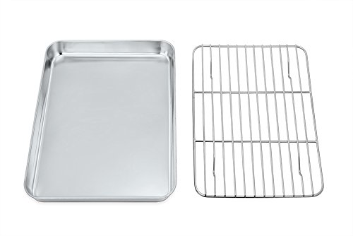 Mini Oven Tray with Rack Set, TeamFar Stainless Steel Small Baking Tray Pan with Cooling Rack,