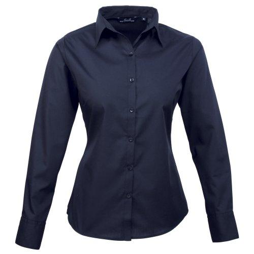 premier-frauen-damenpopeline-bluse-schlichtes-arbeitshemd-langrmelig-36size8-marineblau-de-36marineb