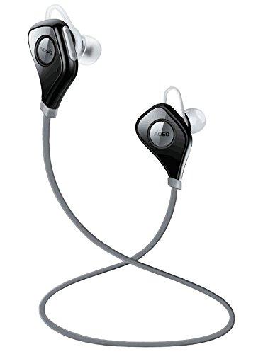 AOSO S5 Auricolari Wireless Bluetooth Headset Stereo Sportive a Prova di Sudore con Microfono e CVC6.0 Cancellazione del Rumore AptX Tecnologia per iPhone Samsung Huawei e altri Smartphone Tablet, Nero