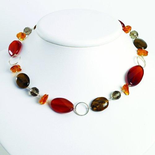 PriceRock Sterling Silver Amber/Carnelian/Smokey Quartz/Tiger's Eye Necklace