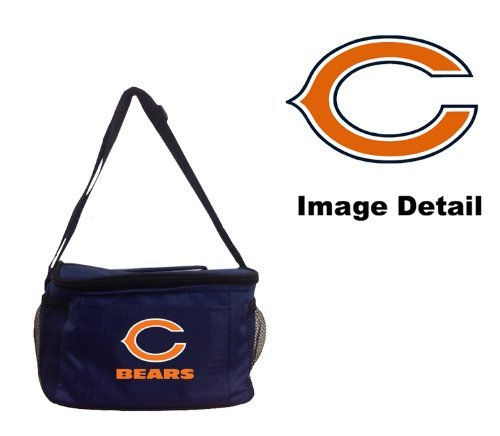Chicago Bears NFL Team Logo 6-Sports Drink Beer Water Soda Beverage Can Insulated Picnic Outdoor Party Beach BBQ Kooler Cooler Lunch Bag Tote - 6-Pack Bag