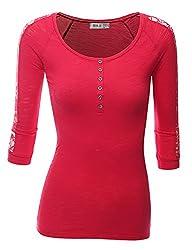 Doublju Women 3/4 Sleeve Shoulder&Bac…