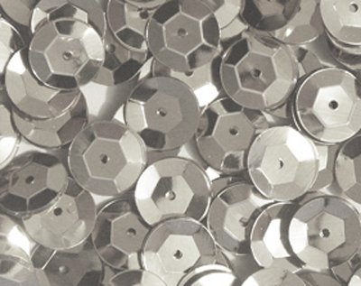 8mm CUP SEQUINS Silver. Loose sequins for embroidery, applique, arts, crafts and embellishment.