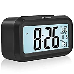 Alarm Clock with Big LCD Screen, Morning Clock with Gradually Stronger Sound Wake You Up Softly. Black Color.
