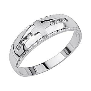 925 Sterling Silver Rhodium Plated Men 39 S Cross Wedding Band