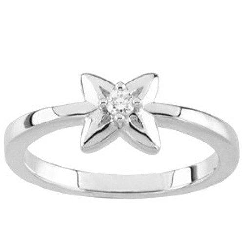 10K White Gold Diamond Promise Ring - 0.05 Ct. - Size 5