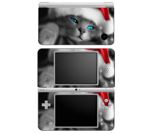 Christmas Kitty Cat Decorative Protector Skin Decal Sticker for Nintendo DSi XL Handheld Portable Video Game Console