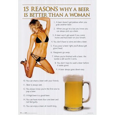 (24x36) 15 Reasons (Beer is Better Than a Woman) Art Poster Print