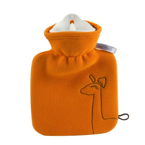 Hugo Frosch Kinderw&#228;rmflasche Junior 0,6 Ltr. mit Teddy Doublefleece&#252;berzug orange Stickapplikation &quot;Giraffe&quot;